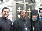 Fr. Moses on a recent speaking engagement at St. Tikhon's Seminary , with subdeacon Paul Abernathy and Fr. Pedro